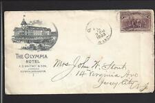 "OLYMPIA,WASHINGTON,1893,#231,COLUMBIAN HOTEL AD COVER, ""THE OLYMPIA HOTEL""."