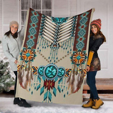 Native American Dreamcatcher Pattern Style Sherpa Fleece Blanket