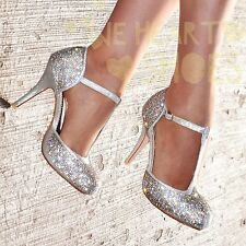 Ladies Diamante High Heel Shoes T-bar Evening Party Closed toe Heels  UK size