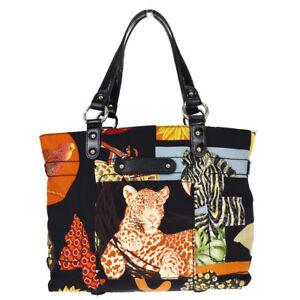 SALVATORE FERRAGAMO Tote Shoulder Bag Nylon Canvas Leather Black Italy 02BU001