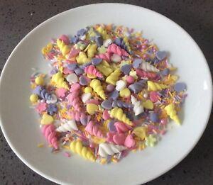 25g Edible Sugar Unicorn Mix Horns Sugar Balls Strands Sprinkles CupCake Toppers