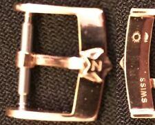 """Original Vintage Zenith """"stellina"""" Buckle Fibbia 14mm inner Solid Rose Gold L@@K"""