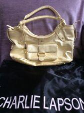 CHARLIE LAPSON LARGE LEATHER HANDBAG TOTE SHOULDER BAG YELLOW MOCK CROC Dust bag