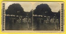 cpa STEREO MARTINIQUE FORT De FRANCE 1902 Refugées in the Streets Eruption