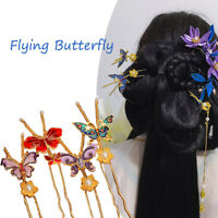 Vintage Butterfly Metal Stick Hair Forks Chinese Retro Making Style Hair Pin