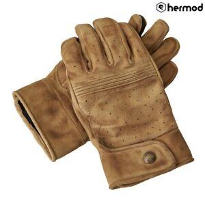 Belstaff Montgomery Leather Motorcycle Motorbike Gloves - Suede Sand