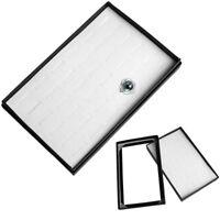 Ring Box Jewelry Display Storage Tray 36 Slot Glass Top Case Holder Organizer