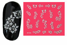 White Flowers (18) 3D Nail Art Stickers Water Transfers Decals Buy 2 Get 1 Free