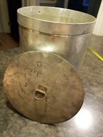 """Vintage Metal Tin Storage Canister w/Lid 11.5"""" tall x 9"""" wide"""