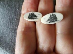 DANIEL KIRACOFE FOUNDER OF SCRIMSHANDERS! 1984 SCRIMSHAW CLIPPER SHIP CUFFLINKS.