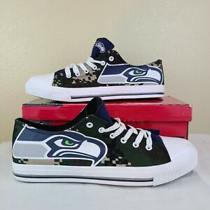 New FoCo NFL Seattle Seahawks Mens Size 11 Low Top Sneakers Shoes Fit like 12/13