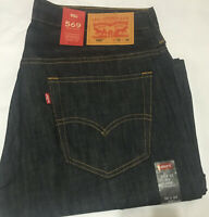 NWT MEN LEVI'S 569 0127 LOOSE STRAIGHT LEG RAW UNWASHED  JEANS PANT D BLUE DENIM