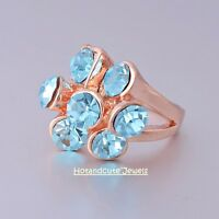50%Off 18k Rose Gold Plated Stamped Ring w Turquoise Swarovski Crystal Size M 6