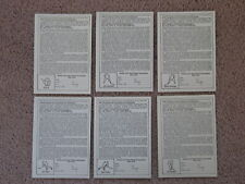 VERY RARE! 1984/85 OPC Hockey Insert Contest Entry Cards.  Set of 6