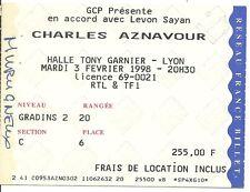 RARE / TICKET BILLET DE CONCERT - CHARLES AZNAVOUR : LIVE A LYON ( FRANCE ) 1998