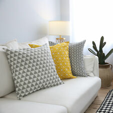 Both Sides Pattern Geometric Cotton Linen Pillow Case Sofa Throw Cushion Cover