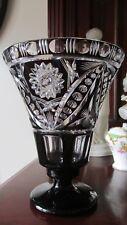 Antique  BOHEMIAN  ART DECO BLACK  HAND CUT GLASS VASE CZECH ..