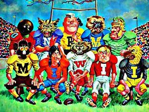 VINTAGE COLLEGE SPORTS FOOTBALL POSTER 1969 DON COLLINS BIG TEN FAMILY PORTRAIT