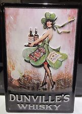 """DUNVILLE'S WHISKY/ PIN-UP GIRL.EMBOSSED(3D) ADVERTISING SIGN, 12""""X 8"""" BELFAST"""