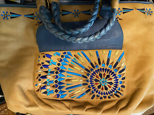 ISABELLA FIORE ' EGYPTIAN' ancient patterned 2 Toned Leather Tote Satchel Large!