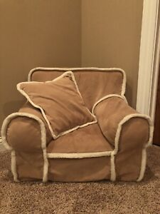 Pottery Barn Kids My First Anywhere ChaIr Slipcover and Pillow Tan Suede EUC