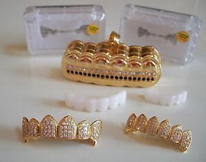 Men's Gold Finish Cubic  High Quality Micro Pave Grillz Teeth/Holder
