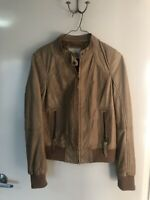 Gorgeous BERSHKA Genuine Leather Beige Jacket, Sz L, As New, RRP $395