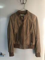 Gorgeous BERSHKA Genuine Leather Beige Jacket, Sz L, As New, RRP $395