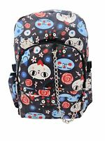 CUTE CAT Funky Blue PVC Backpack Rucksack School College Emo Goth Rock Punk Bag