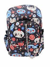 CUTE CAT Funky Blue PVC Backpack Rucksack School College Goth Rock Punk Bag