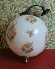Vintage Opaque White Glass Sphere Globe Pendant Ceiling Light Shade, Floral