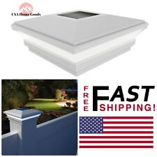 """Vinyl Solar-Powered Contemporary Beveled Post 5"""" x 5"""" W/ Rechargeable Battery"""