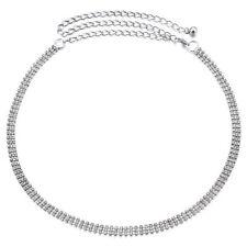 Un tamaño 3 fila cintura cadena Cinturones Con Diamante En Color Plata Vestido Jeans Reino Unido