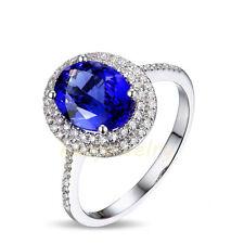 2.2CT Natural Violet-Blue Tanzanite Solid 18K White Gold Diamond Ring