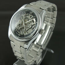 Classical Men's Transparent Skeleton Mechanical Stainless Steel Wrist Watches