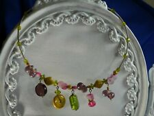 Choker glass beaded handcrafted silver tone spring estate necklace adjustable720