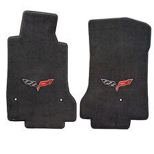 Corvette 2007-2013 2Pc Car Floor Mats Carpet Black Ebony Ultimat C6 Logo