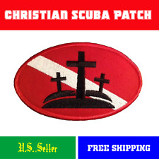 "Christian Diver Down Oval Patch Crucifix Scuba LARGE- 4"" x 2.5""  Iron On Crosses"