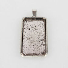 10pcs Vintage Alloy Pendant Cabochon Settings Antique Silver Rectangle 19x38mm