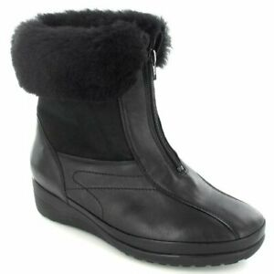 Waldlaufer Ladies Comfy Warmlined Boot Extra Wide Style 862902 in Black size 3