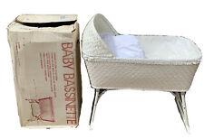 Redmon 1991 Vtg White Folding Woven Wicker Infant Baby Bassinette With Orig. Box