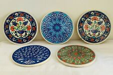 Turkish Iznik Round Ceramic Placemats Display Plate Wall Hangings x 5 #5