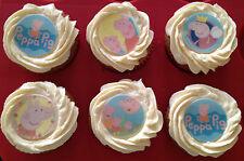12 x 4cm Peppa Pig Edible Cupcake Toppers - PRECUT Easy Cake Decorating!