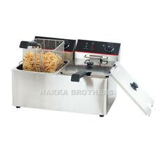Hakka 16l Electric Deep Fryer Dual Tank Restaurant Stainless Steel 2 Fry Basket