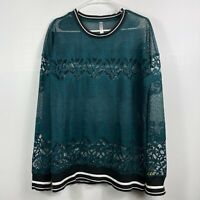 Fabletics Sophie Lace Tunic Pullover Teal Floral Breathable Top Fitness Shirt
