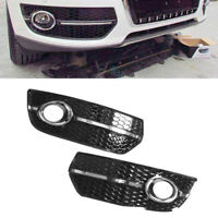L&R Bumper Grill Fog Light Lamp Cover FOR AUDI Q5 2009-2011 -Glossy Black Chrome