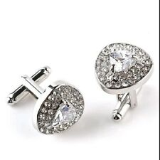 White Crystal Diamond Silver Cufflinks Formal Business Wedding for Suit Shirt