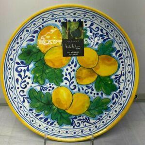 """4 Pcs Set Melamine Dinner  Plate Yellow Lemon 11 """" Nicole Miller New NWT"""
