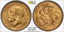 1917-P Gold Sovereign PCGS MS63 Australia  Sov Coin