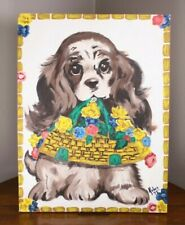Mid C MCM Spaniel Puppy Dog Painting Oil Canvas Board Art Kolve Kolwe '75
